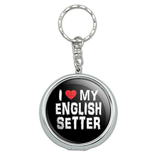 Portable Travel Größe Pocket Geldbörse Aschenbecher Schlüsselanhänger I love my dog b-e English Setter Stylish (Schlüsselanhänger Setter)