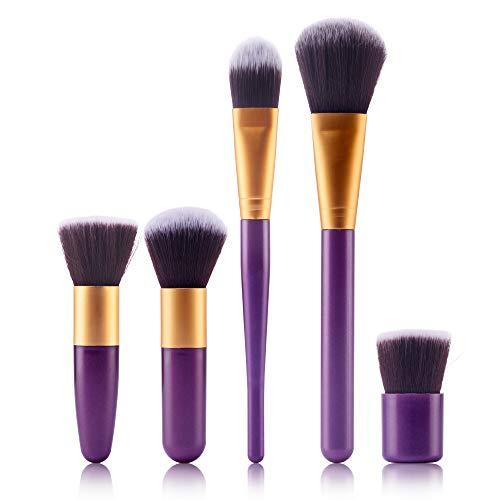 Cooljun 5 pièces Lot de pinceaux à maquillage professionnel - Pour les fonds de teint, pinceaux à fard à joues, kabuki, à poudre, à crèmes cosmétiques et correcteur pour œil (H)