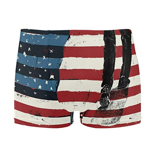 best gift Mens Swim Trunks USA Flag Walk Boxer Briefs Board Short Beach Shorts Men Swimming Briefs Swimwear XL -