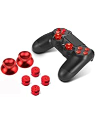 PhoneStar Sony Playstation 4 DualShock contrôleur 4 casquettes en aluminium Boutons Pièces Accessoires joysticks pad de commande pad clé pour PS4 en rouge