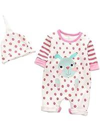mama stadt Ropa Conjunto para Niños Niñas Recién Nacidos,Mameluco Animales + Sombrero Pijamas,