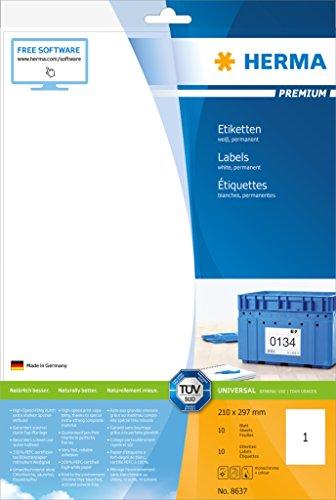 Herma 8637 Universal Etiketten selbstklebend (210 x 297 mm, DIN A4 Format, Premium Papier matt) 10 Stück auf 10 Blatt, weiß, bedruckbar