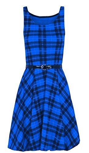 Belted Check Dress (MA ONLINE Damen Kleid, Karo Grün * Einheitsgröße Gr. 34 DE/36 DE (Small/Medium), Royal Blue Tartan)