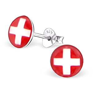 EURO 2016 Bunte Ohrstecker mit Swiss Flag Design Sterling Silber Fussball