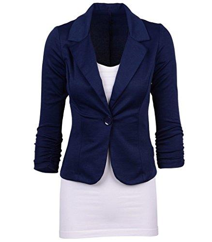 Smile YKK Tailleur Femme Chic Costume Veste Courte Manteau Manches Longues Bouton Amincissant Bleu Foncé