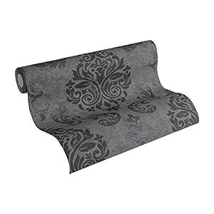 A.S. Création Vliestapete Memory Tapete neo barock glamourös klassisch 10,05 m x 0,53 m grau metallic schwarz Made in Germany 953723 95372-3
