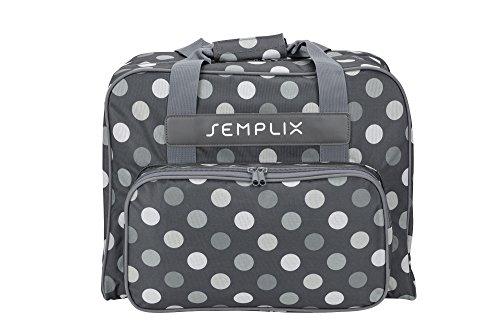 SEMPLIX Nähmaschinentasche Polka Dots, Anthrazit/Grau, 45x34x24 | stabile Transport und Aufbewahrungs Tasche in vielen frischen Farben, für alle gängigen Haushaltsnähmaschinen