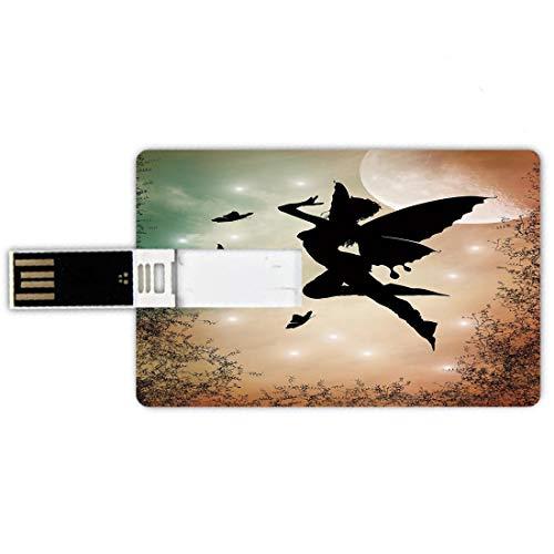 32gb chiavette usb a forma di carta di credito appartamento decor memory card stile carta di credito fata nera con ali d'angelo farfalle e sole come seducente luce rotonda,multicolore penna impermeabi