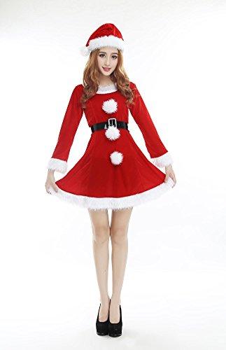Frauen Weihnachtskostüm Charming Red Velvet Kleid Hut und Gürtel Weihnachten Bühne Performance Kleidung Santa Kostüme One Size (Red Velvet Kleid Kostüm)