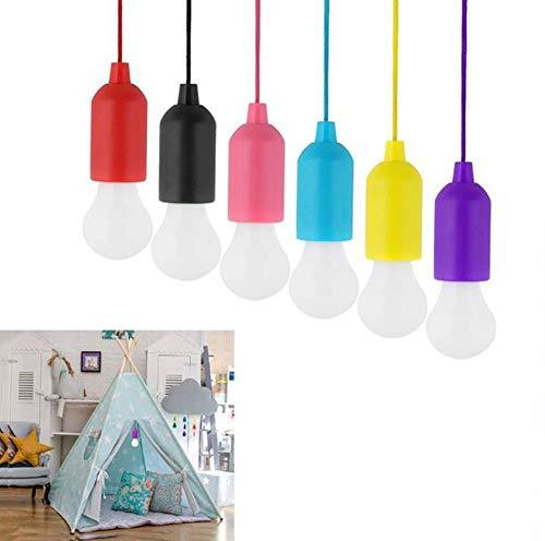6 Vanity Bar Licht (Lamping LED Leuchte Ziehen Sie die Schnur-Glühbirne LED 6 Pack - Tragbare batteriebetriebene weiße/farbige Einem Seil - Outdoor, Gärten, Camping, BBQ, Schränke, Feierlichkeiten,Whitelight)