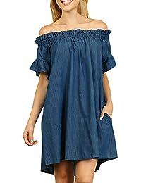 4cc9a00b7182d VJGOAL Mujeres más el tamaño de la Moda Sexy Casual Loose Brief Off The  Houlder Lace Plisado Escote Corto Denim Look Shirt Mini…