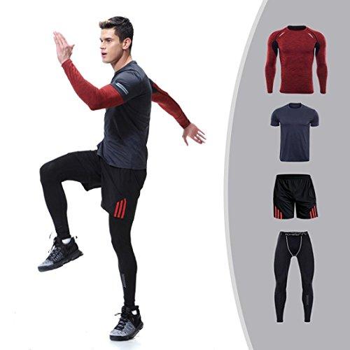 Set da 4 capi e pantaloni a maniche lunghe, completo di abbigliamento sportivo atletico da uomo, 4 pezzi, quick dry traspirante #6