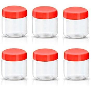 Sunpet – Contenitori in plastica per alimenti, con tappo rosso, plastica, Rosso, Pacco da 6, 100 ml