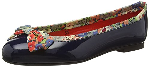 French SoleHenrietta Large Bow Patent Leather Thorpe K Liberty Print - Ballerine donna , Blu (Navy), 37 EU