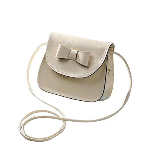 ZARU Arbeiten Sie Frauen Bowknot Leder-Handtasche , einzelner Schulter (Beige) (Voll-leder-schulter-handtasche)