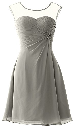MACloth Women Short Bridesmaid Dress Cap Sleeve Cocktail Party Formal Gown Silber
