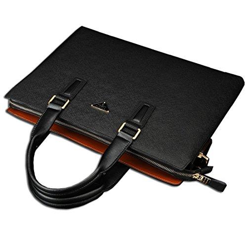 KAXIDY Klassische Leder Arbeitstasche Lehrertasche Schultasche Aktentasche Businesstasche Bürotasche Aktenkoffer (Blau) Schwarz