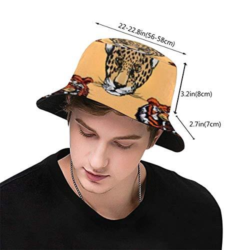 htrewtregregre Leopards and Tigers Bucket Hat Fisherman Hats Fischerhüte Summer Reversible Packable Cap Baseball Hat Sun Cap Hip Pop Hat -