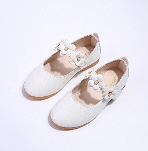 Anti-Rutsch-Baby Kleinkind Kind Mädchen Blume PU Leder Krippe Prinzessin Hochzeit Wandern Schuhe Sandalen (32 EU, Weiß)