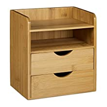 Relaxdays Organiser, Size: 21 x 20 x 13 cm Bamboo System for Organizing your Office Desk with 2 Shelves and 2 Removable Drawers Storage Box for Letter Filing for Work, Natural Brown, 13x20x21 cm