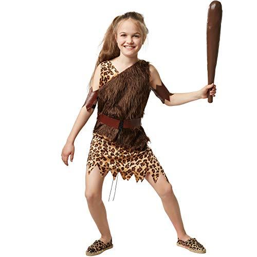 dressforfun 900569 Schickes Steinzeitmädchen, Steinzeitliches, kurzes Kleid in braunen Farben (128| Nr. 302736) (Halloween Kostüm Zubehör Höhle-mädchen)