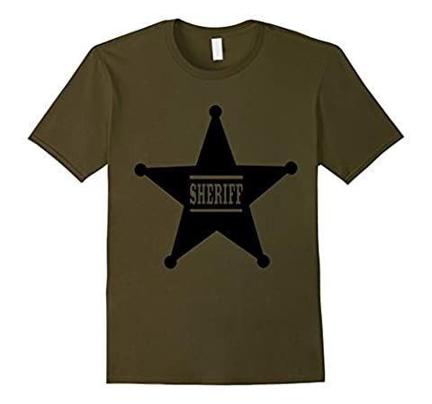 Men's Sheriff Badge T-Shirt Law Enforcement Officer Graphic Tee XL Olive