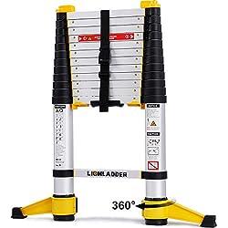 Lionladder EN131-6 Échelles télescopiques Professionnelle Extensible 3,8 m, en Aluminium, Capacité de Charge de 150kg, un Bouton Rétraction
