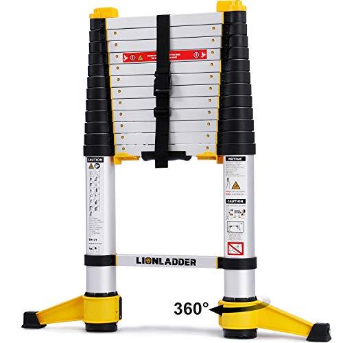 Lionladder EN131-6 3,8M Professionelle Teleskopleiter mit Stabilisator, Aluminium Mehrzweckleiter Eine-Taste-Rückzug, 150kg/ 330 lbs Tragfähigkeit