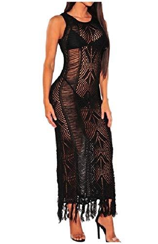 Black Crochet Bikini (CuteRose Womens Fringed See Through Sleeveless Cover-ups Bikini Dress Black S)