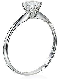 Zertifikat Klassischer 18 Karat (750) Weißgold Damen - Diamant Ring Round 0.30 Karat H-VS1 (Ringgröße 48-63)