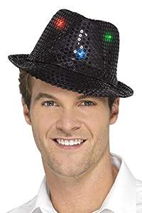 Smiffys Sombrero de ala Corta con Luces y Lentejuelas, Negro, con Luces LED multifunción