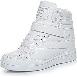 UBFEN Zapatillas de Cuña para Mujer Botas Botines Alta Zapatos Deportivos Elevador Interior Talón Plataforma 7cm Sneakers Wedges Blanco Negro Rosa EU 37 Blanco