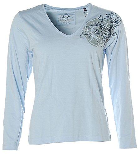 Kitaro Damen Women Langarm Shirt V-Ausschnitt Skyblue
