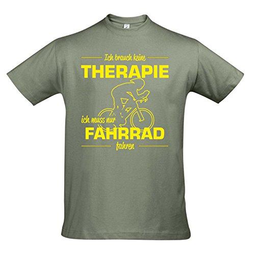 T-Shirt - Therapie - Fahrrad - Sport FUN KULT SHIRTS S-XXL , Khaki - gelb , M (T-shirt Fahrrad Gelb)