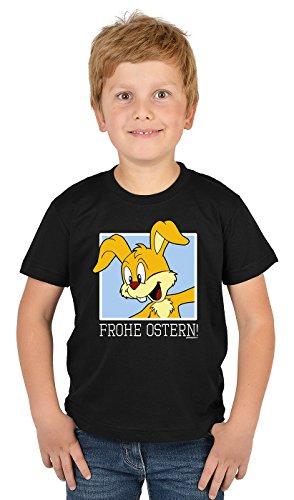 Kinder T-Shirt mit lustigem Oster Motiv - Osterhasen Kinder-Shirt : Frohe Ostern - witziges Tshirt fürs Osternest Jungen/Mädchen Gr: S = 122-128