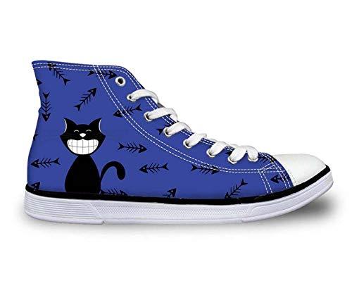 MLULPQ& Lovely Cat Hi Tops Plimsolls Women Girls Canvas Sneakers Flat Designs Halloween Blue+Fishbone UK 2