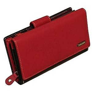 Felda Womens Genuine Soft Leather Clutch Wallet - RFID Protection - Red & Black