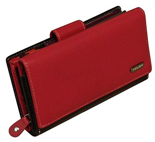 Damen Geldbörse aus Echtleder mit 19 Fächern - RFID-Blocker - Rot & Schwarz