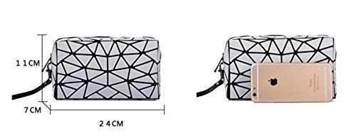 FZHLY Nuova Signora Geometrica Opaca Sacchetto Piegante Moda Pochette Lingge,Purple White