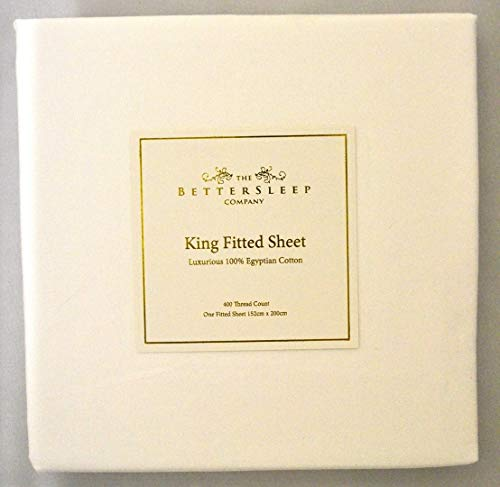 The Bettersleep Company Superior Boutique Hotel Quality 400 Thread Count 100% Egyptian Cotton Fitted Sheet King Size Bed. Luxurious Sateen Finish-White by The Bettersleep Company