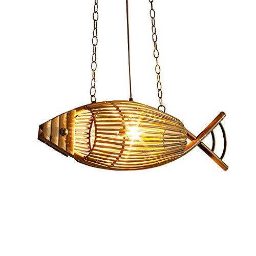 Rishx 2 köpfe Fisch Form Bambus Decke Hängelampe Retro Nostalgischen E27 Edison Holz Pendelleuchte Kronleuchter Kreative Restaurant Droplight Kette Einstellbare Esszimmer Küche Bauernhaus Laterne