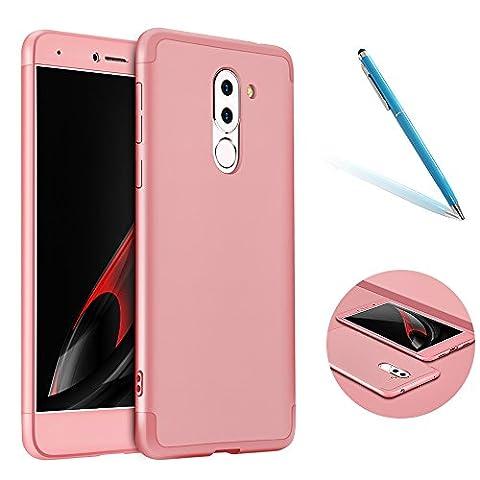 Coque pour Huawei Honor 6X, Style de Mode CLTPY Huawei Honor 6X Housse [3 en 1] Couverture en Plastique Dur avec Cadre Détachable, étui Anti Choc Mat pour Huawei Honor 6X/GR5(2017)/Mate9Lite + 1 x Stylet Gratuit - Or Rose