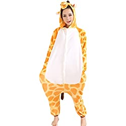 Jysport - Pijama de unicornio, unisex, con capucha de forro polar, disfraz cosplay, jirafa, large