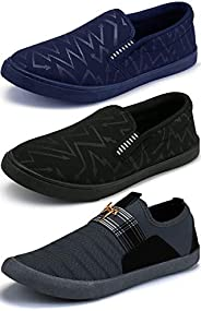 Ethics Men's Combo Pack of 3 Navy Blue, Black & Grey Casual Loafers Shoes f