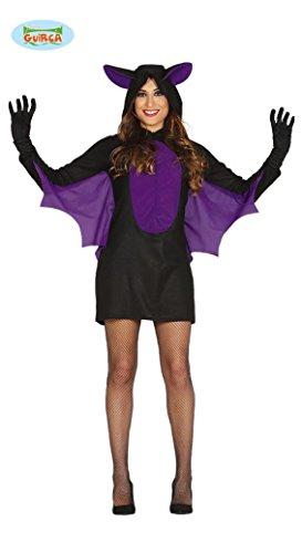 Imagen de disfraz de murciélago morado para mujer
