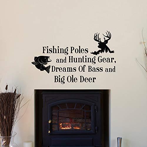 Wandaufkleber Kinderzimmer Jagdausrüstung Träume von Bass Quotes Angelruten und Big Ole Deer Schlafzimmer Kinderzimmer