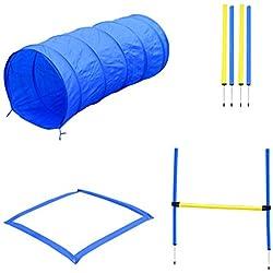PawHut Agility Sport pour Chiens Equipement Complet Obstacles, Tunnel, Slalom, Zone Repos + 2 Sacs de Transport Bleu Jaune