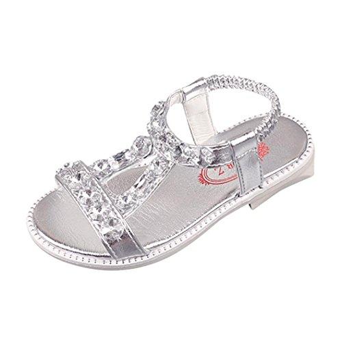 Kristall-kind (SOMESUN Fashion Baby Mädchen Sandalen Kinder Prinzessin Sommer Kristall Diamanten Weich Leder Atmungsaktiv Strand Beiläufig Freizeit Römisch Schuhe (EU32, Silber))