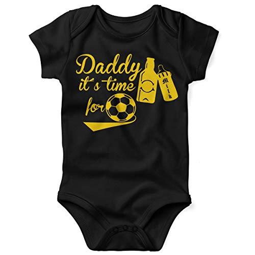 (Mikalino Daddy it´s time for soccer - cheers Babybody kurzarm gelb-print, Grösse:74;Farbe:schwarz)