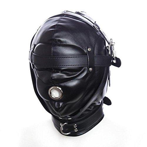 LYM Isolationsmaske Leder Full Face Fetisch Hood Maske Bondage Knebel Masken Sklaven Erwachsene Sexspielzeug Für Paare Halloween Cosplay CF004 , black
